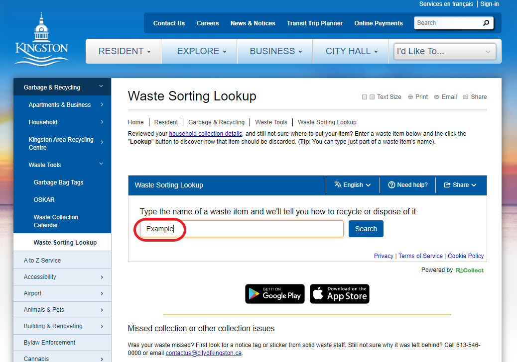 Image 1: Online version of the waste lookup tool. Enter your item in the search bar to see where it goes.