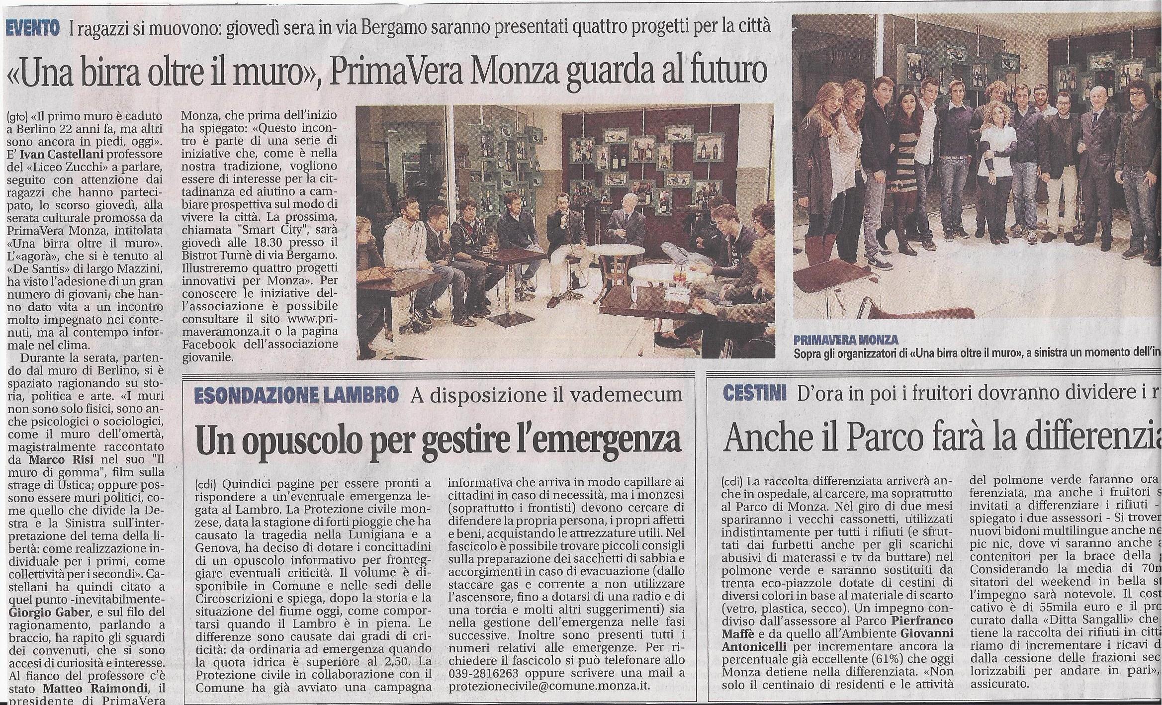 """""""Una birra oltre il Muro"""", PrimaVera Monza guarda al futuro"""