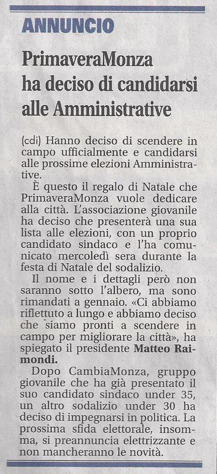 PrimaVera Monza ha deciso di candidarsi alle Amministrative