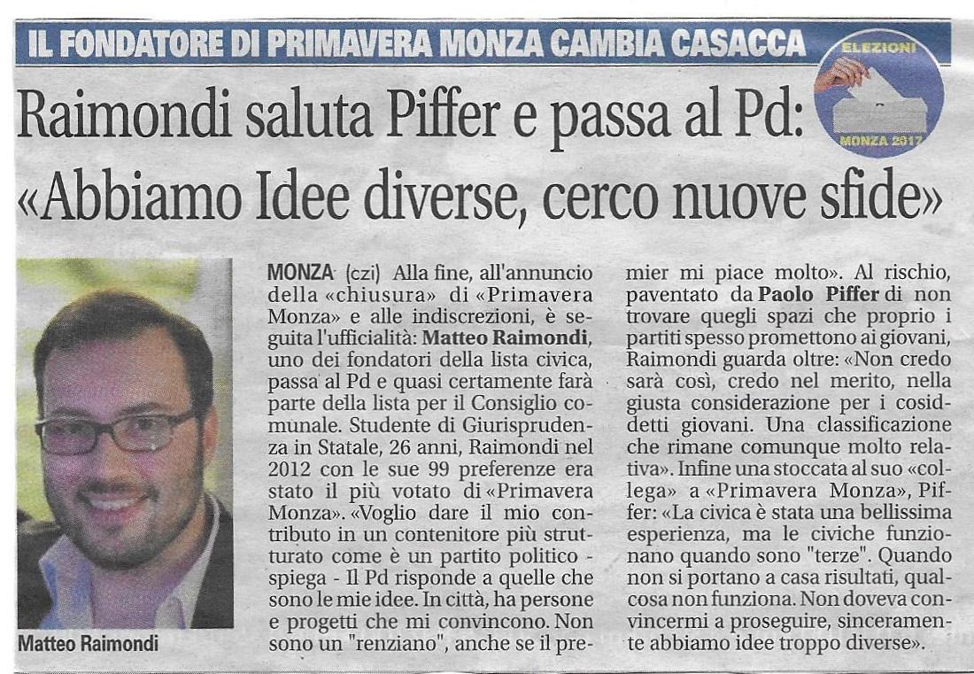 """Raimondi saluta Piffer e passa al PD: """"Abbiamo idee diverse, cerco nuove sfide"""""""