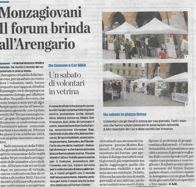 Monza Giovani. Il forum brinda all'Arengario