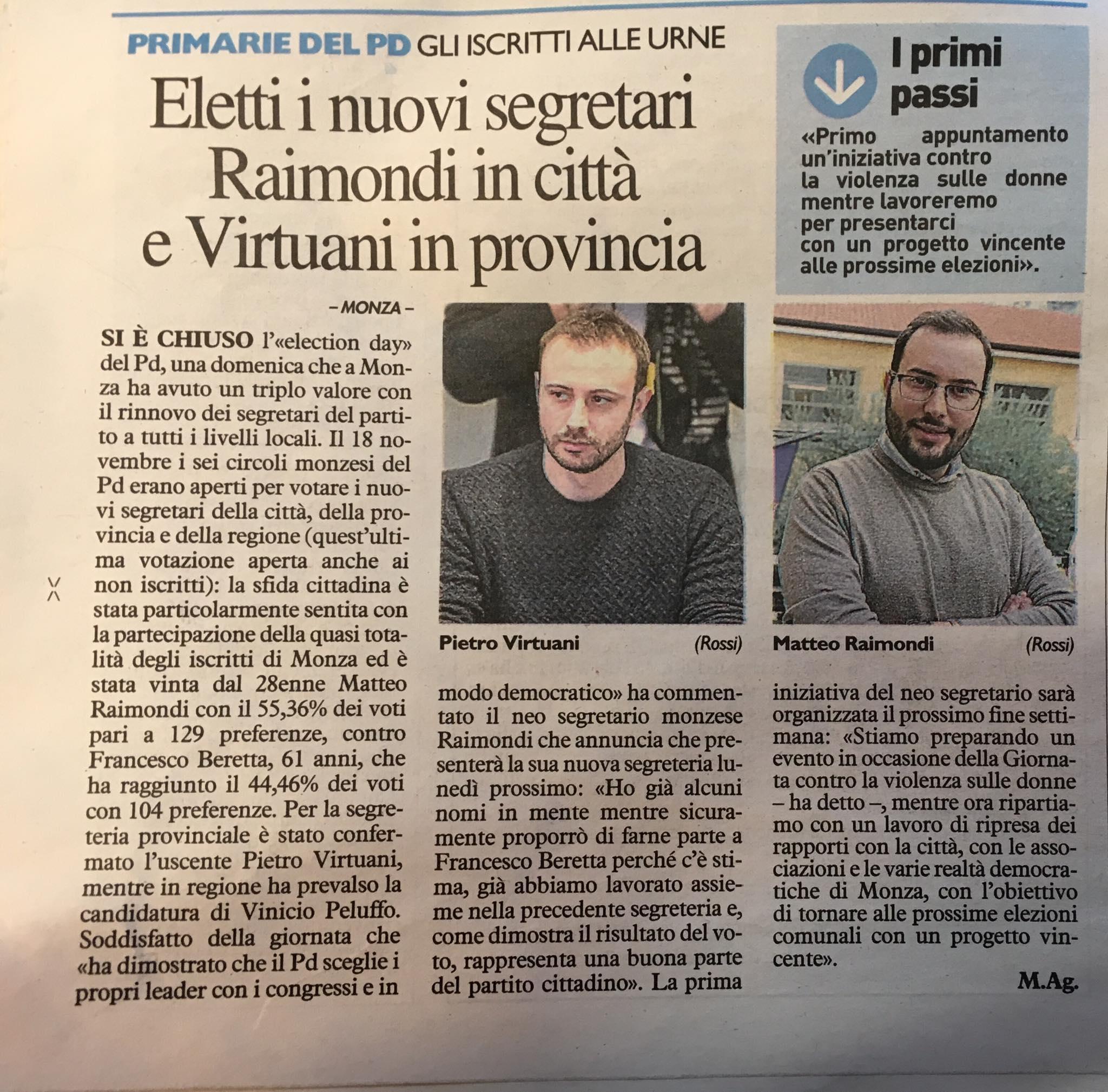 Eletti i nuovi segretari Raimondi in città e Virtuani in provincia