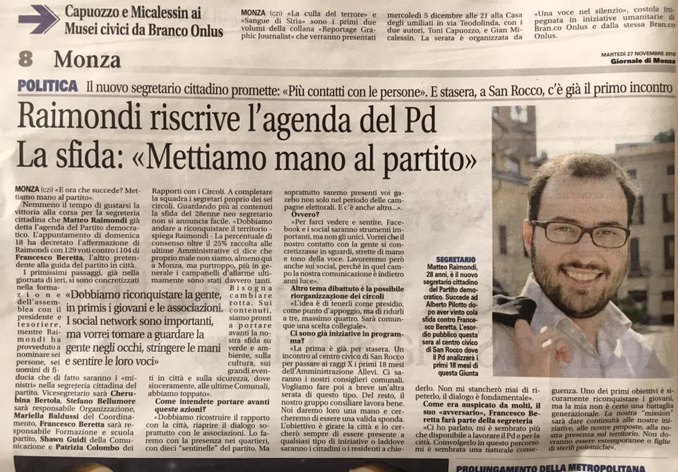 """Raimondi riscrive l'agenda del PD. La sfida:"""" Mettiamo mano al partito"""""""