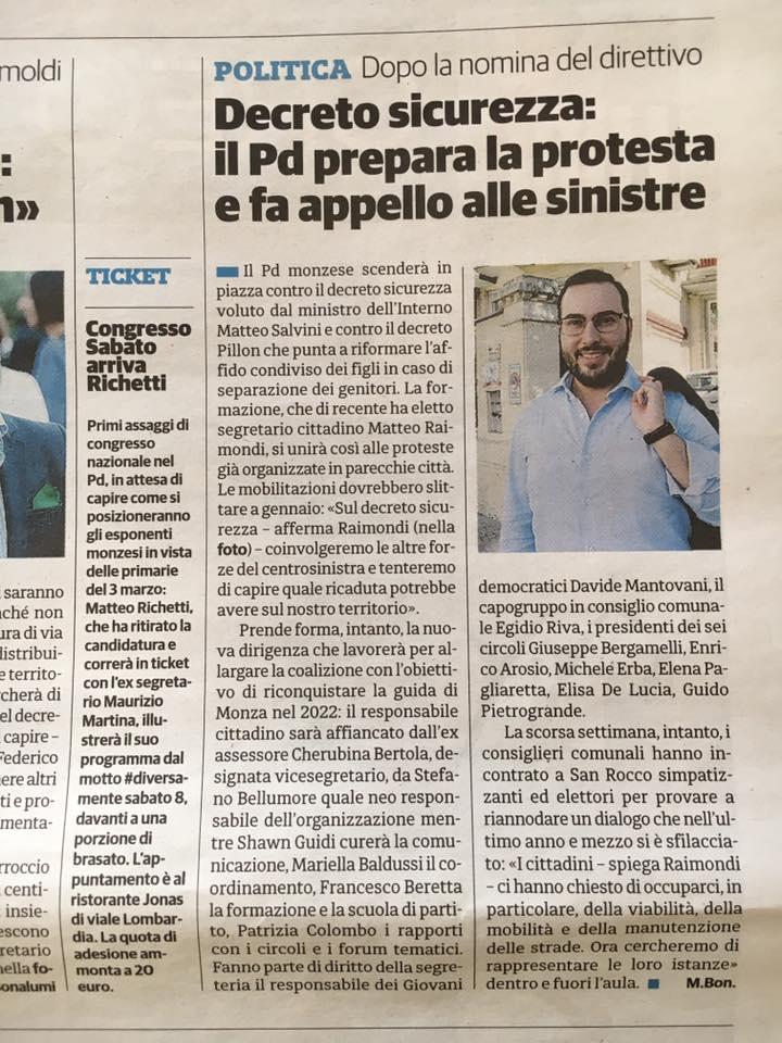 Decreto sicurezza: il PD prepara la protesta e fa appello alle sinistre