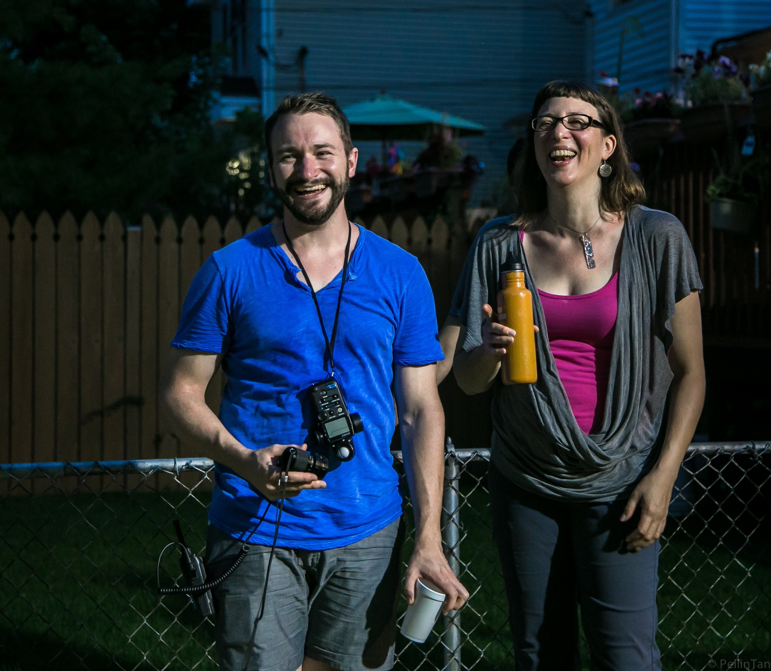 Director of Photography Jonah Rubash and me on 'Gardening at Night'. It was not a somber shoot.