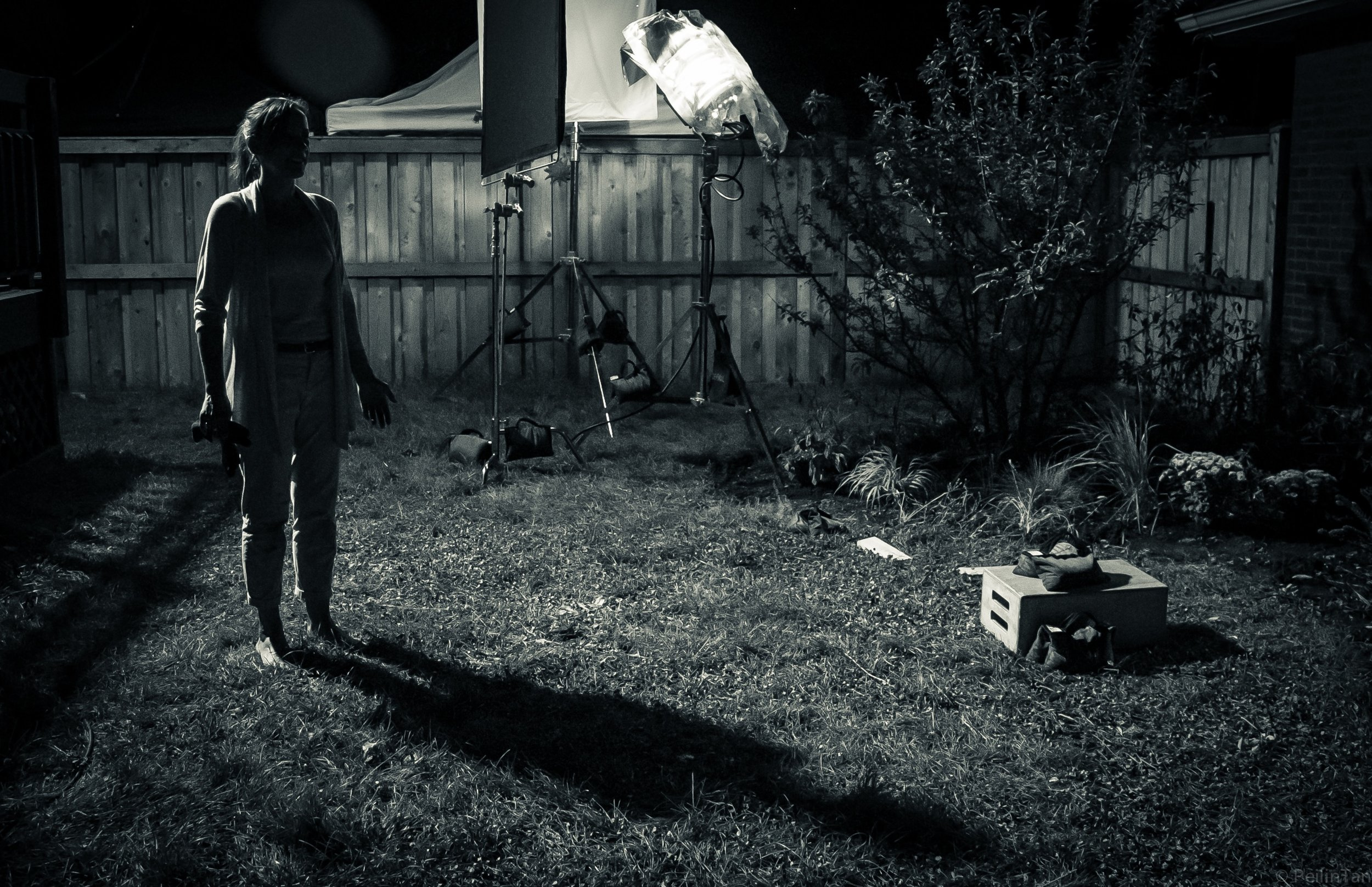 Janelle Snow on the set of 'Gardening at Night'