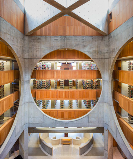 Phillips Exeter Academy Library, New Hampshire, USA  Believe it or not, this is a school library. With 160,000 volumes encased over nine levels, it serves students at the Phillips Exeter Academy boarding school in America's New England. Commissioned in 1965 because the original library had entirely run out of space, it was finished in 1971, and has won many a prestigious architectural award since then.