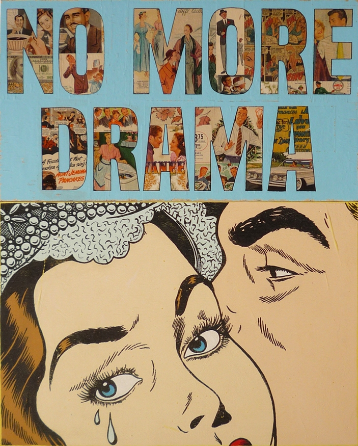 "Joseph, ""No more drama,"" 2019. Acrylic, collage, and resin on wood. 100 x 80 cm."
