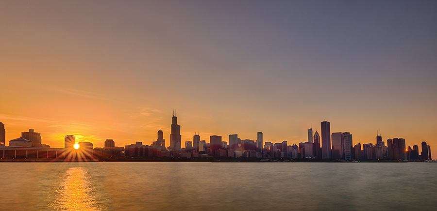 Skyline from Adler Planetarium at Sunset