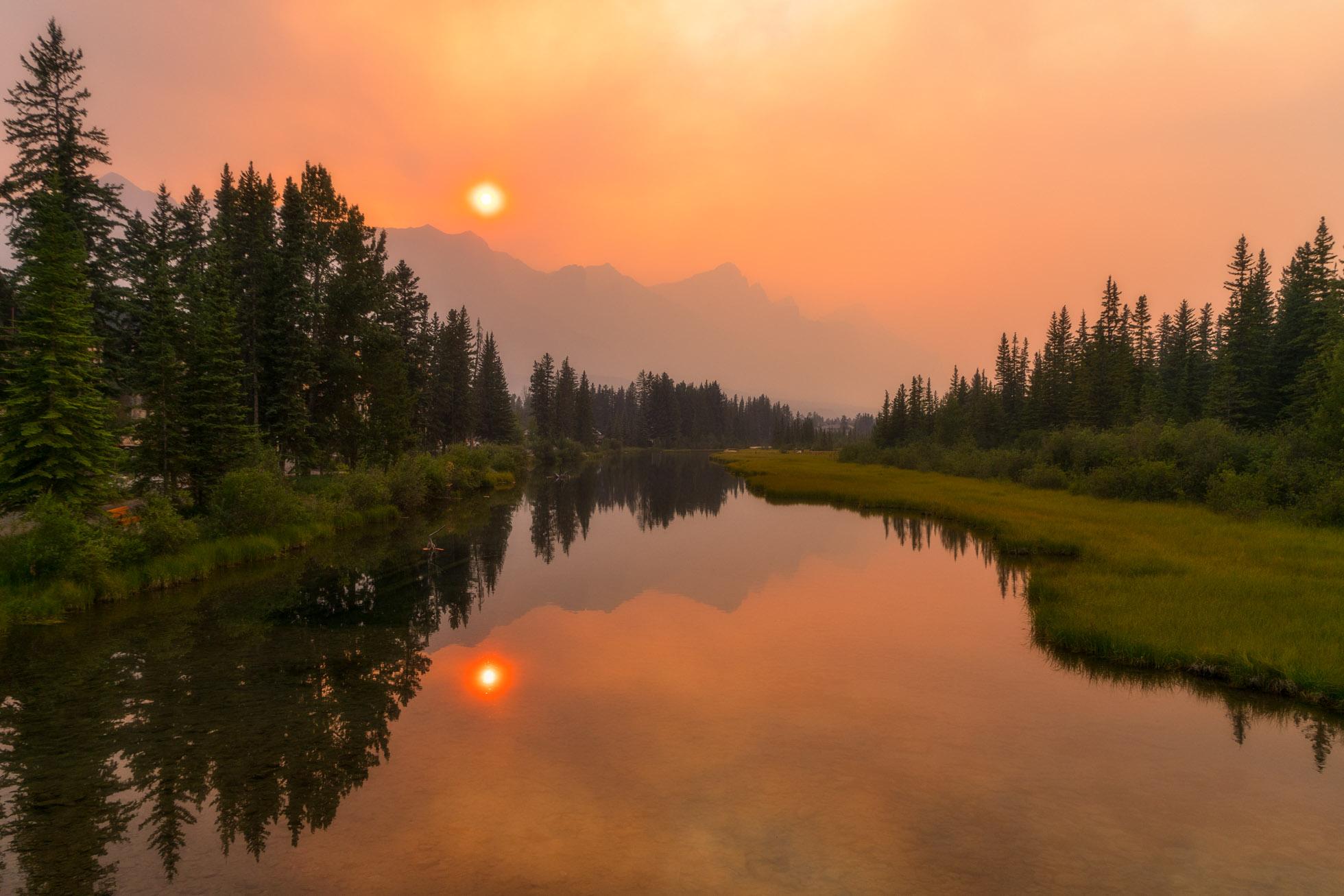 Spring Creek during a smokey sunset