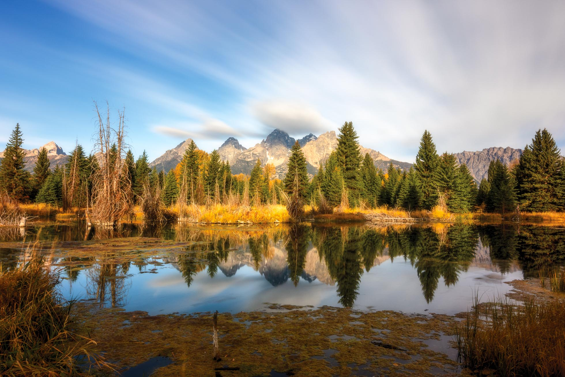 4 minute exposure using a 15 stop ND filter in Grand Teton National Park.