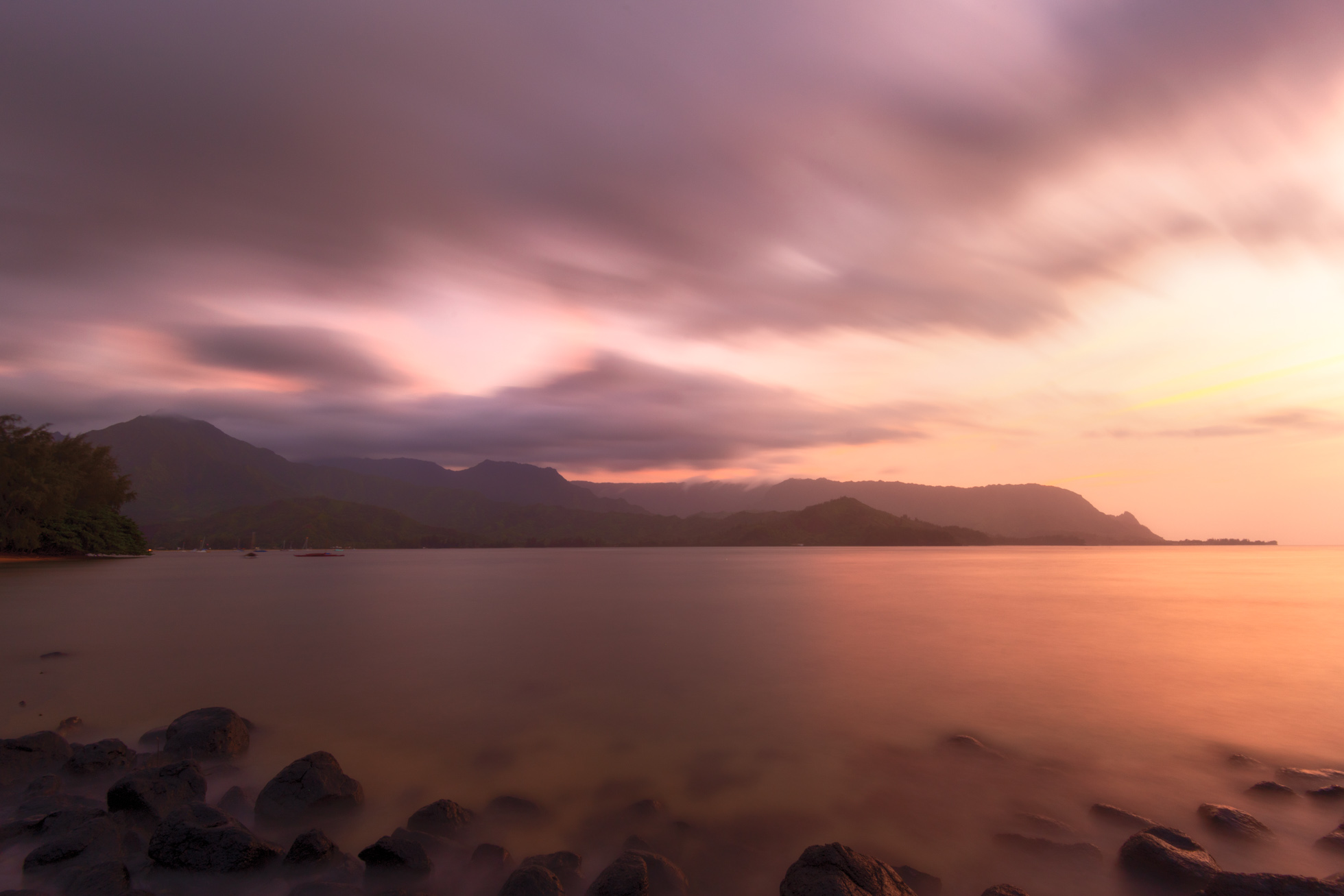 Long Exposure during a gorgeous sunset on the island of Kauai