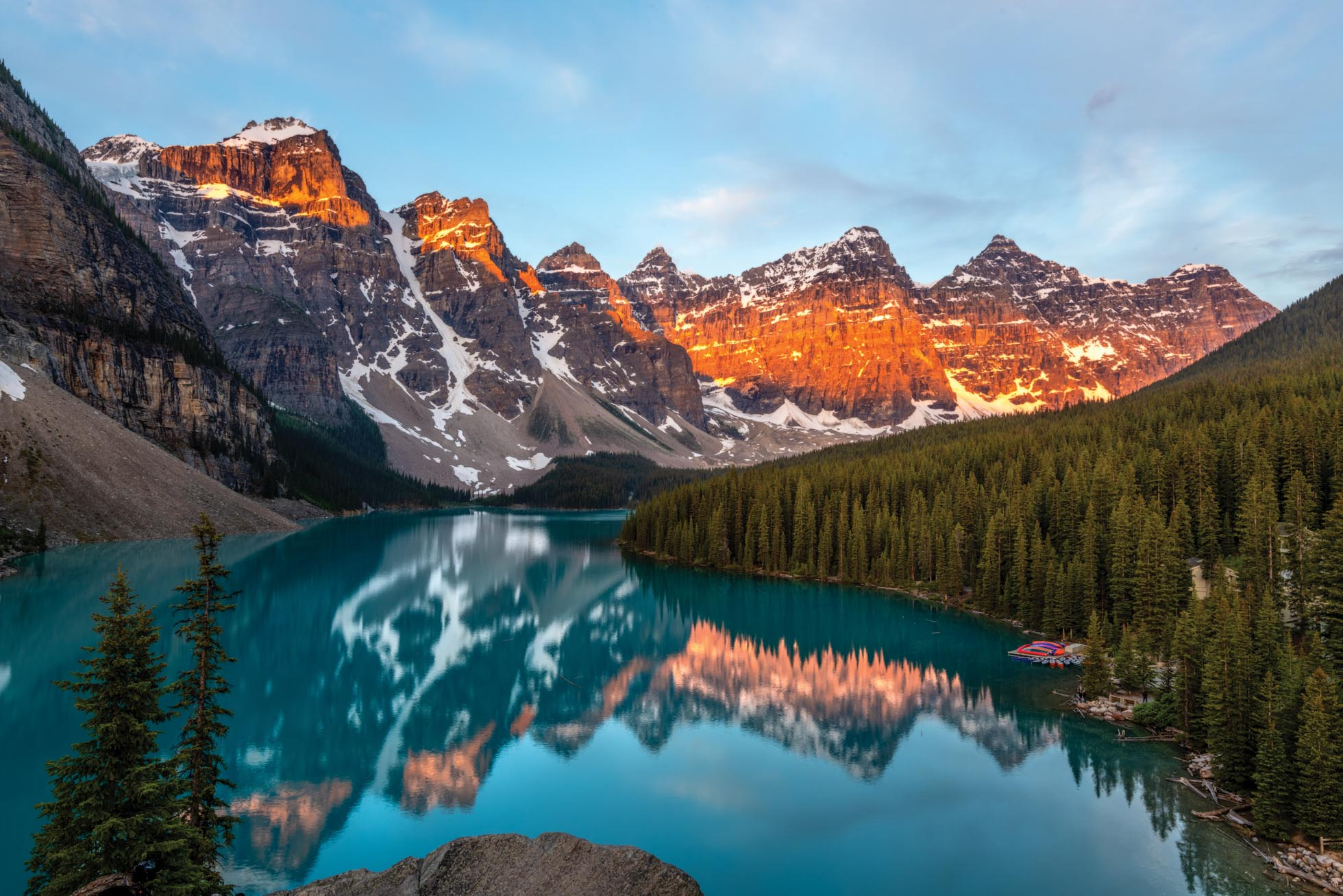When I visited Moraine Lake in the summer of 2017, I was with my family and did not have the opportunity to capture a sunrise here. In June, my girls, Gina & Addie, & I made sure to make it there for this beautiful reflection of alpenglow.