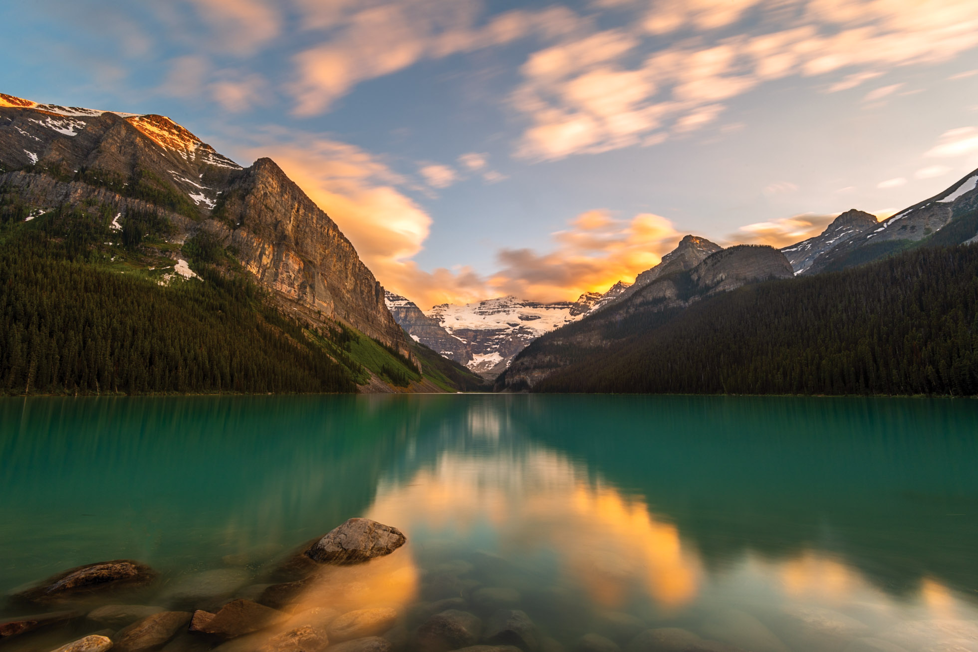 Long exposure of the clouds and water utilizing a 10 stop Neutral Density Filter at Lake Louise, Alberta, Canada