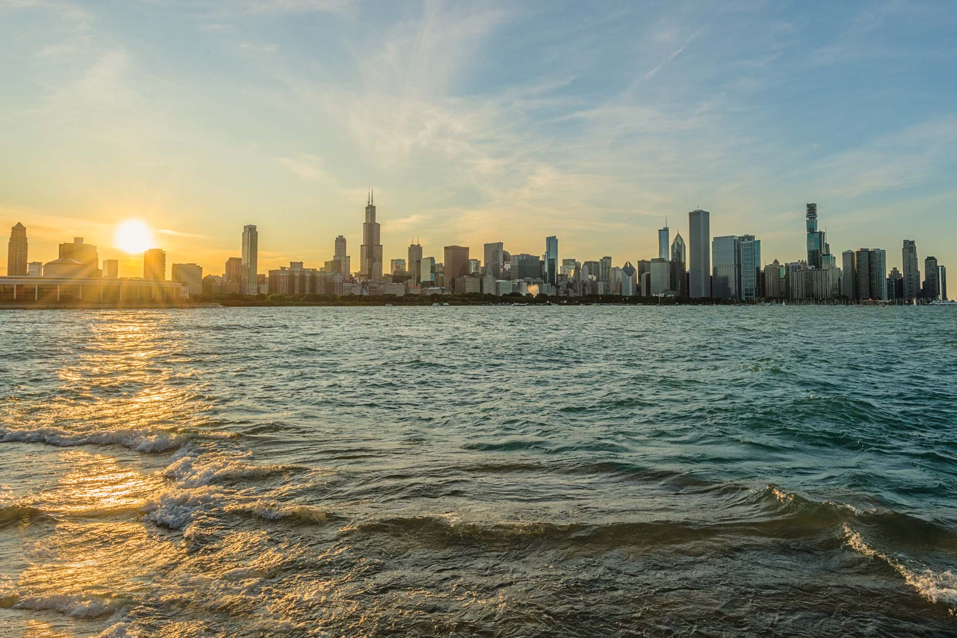Chicago Skyline on a windy and wavy day. Captured with a 1/320 shutter speed.