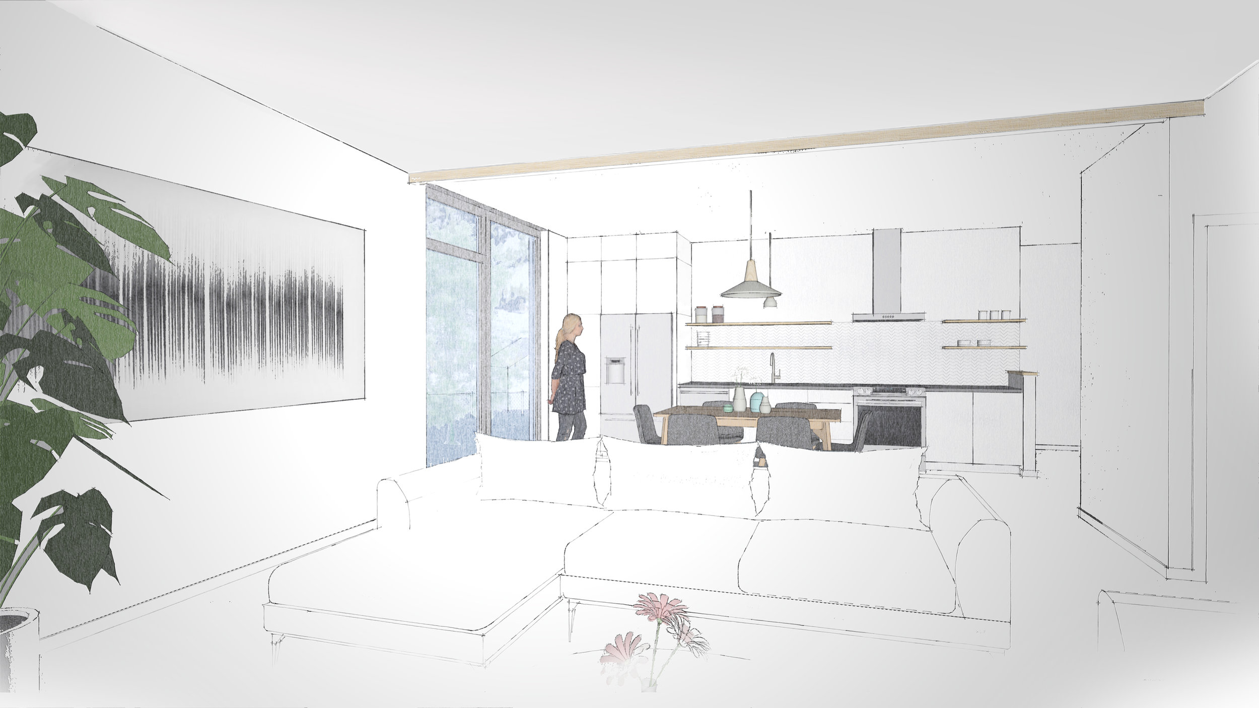 Schematic view of the kitchen area in Floor Plan North. *schematic only, final elevations, fixtures, finishes, and design subject to change.