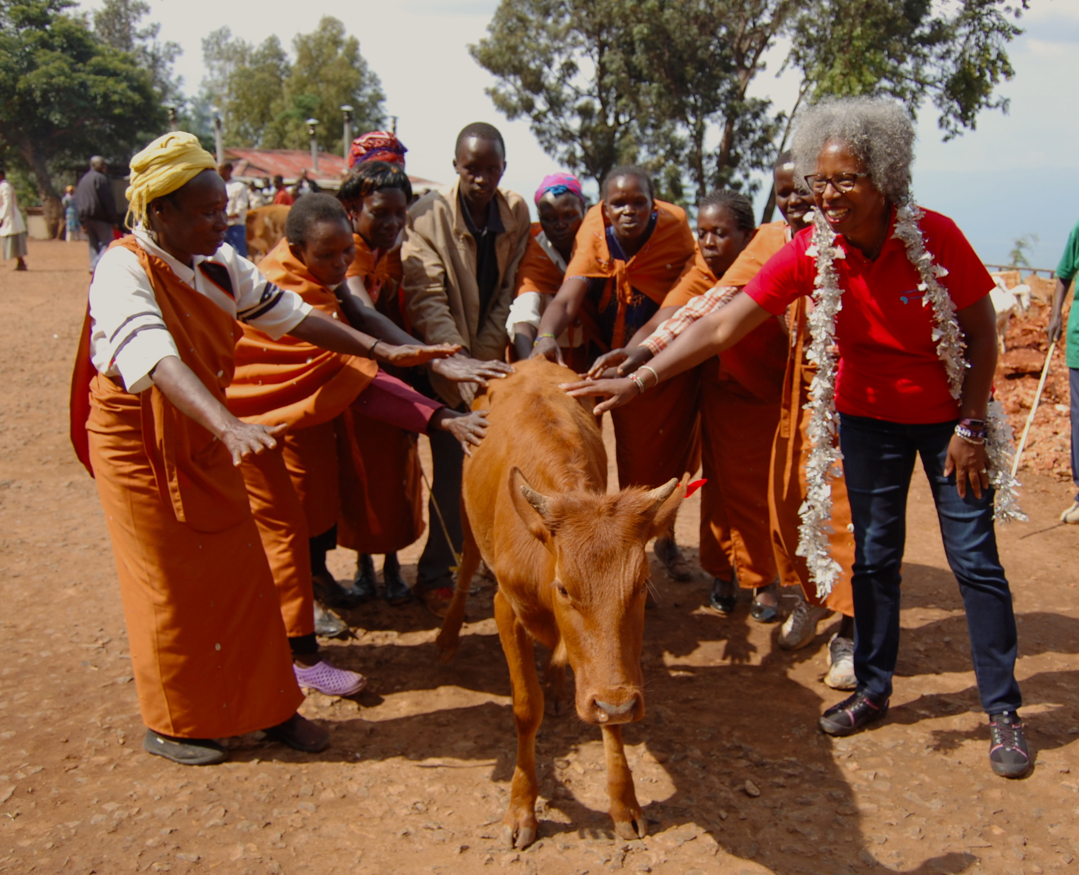 Anna Garvin, CWA volunteer, participates in a cow blessing as a woman receives the gift of her lifetime.