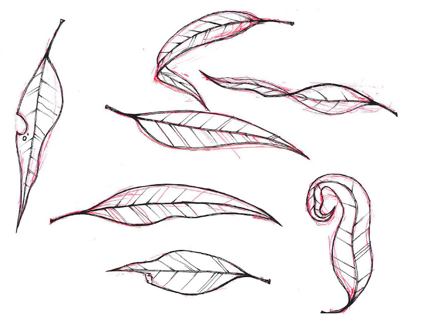 Preliminary sketches for the graphic concrete motifs