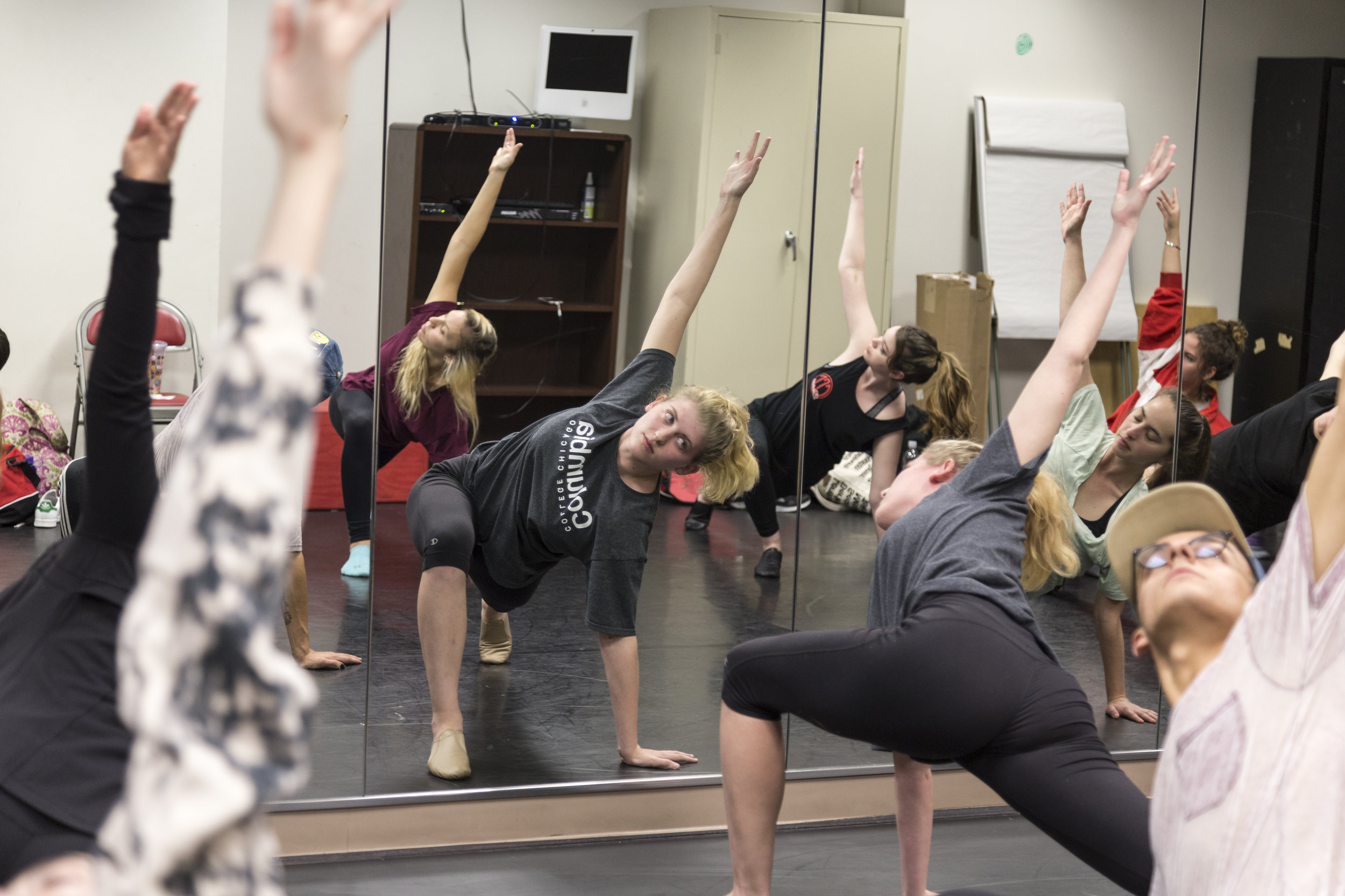 Miranda Kanowsky leads the Columbia College Dance Team in stretches at their rehearsal on Wednesday, Oct. 4. 1306 S. Michigan Ave.