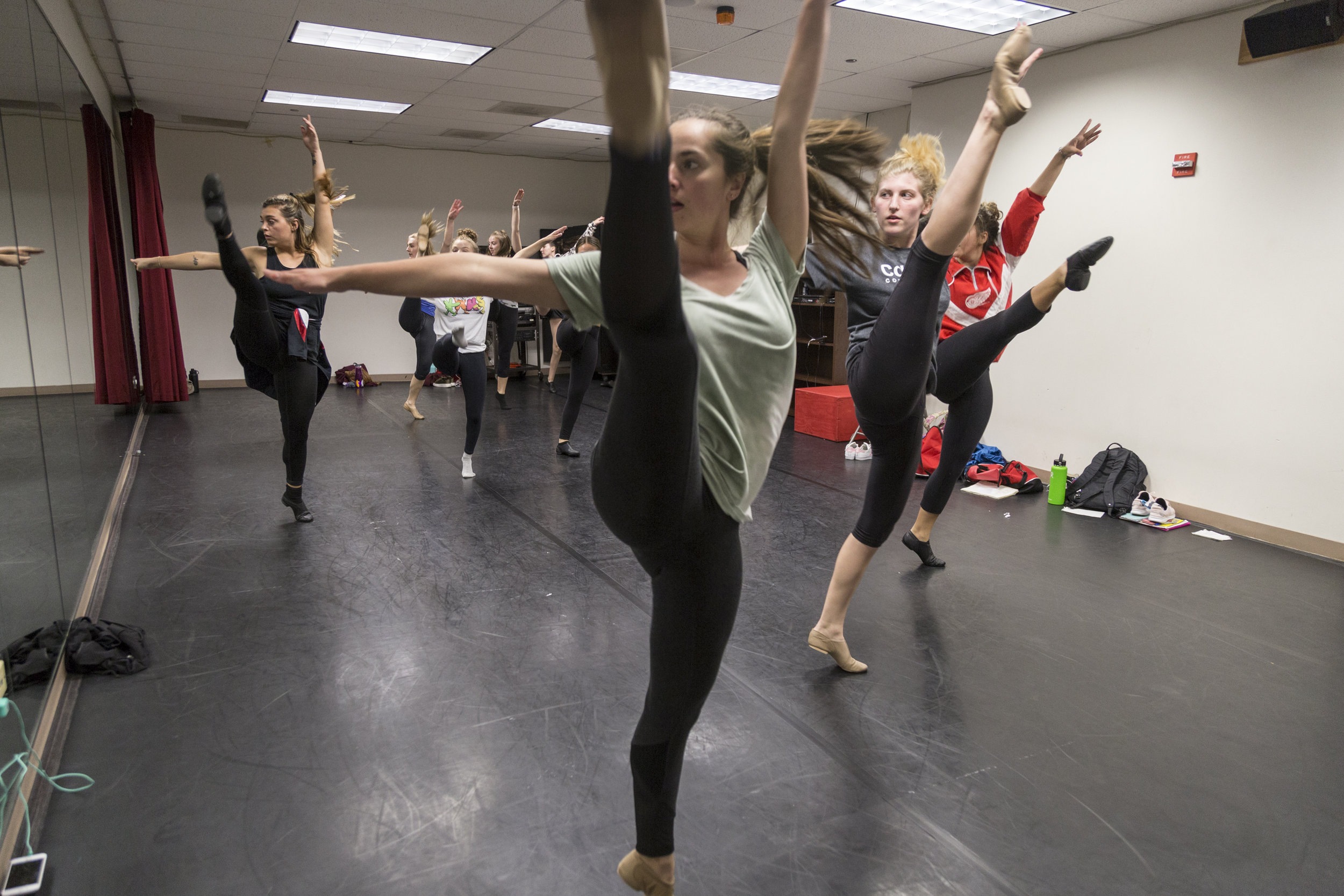 The Columbia College Dance Team rehearses in a dance studio at 1306 S. Michigan Ave. Wednesday, Oct. 4.