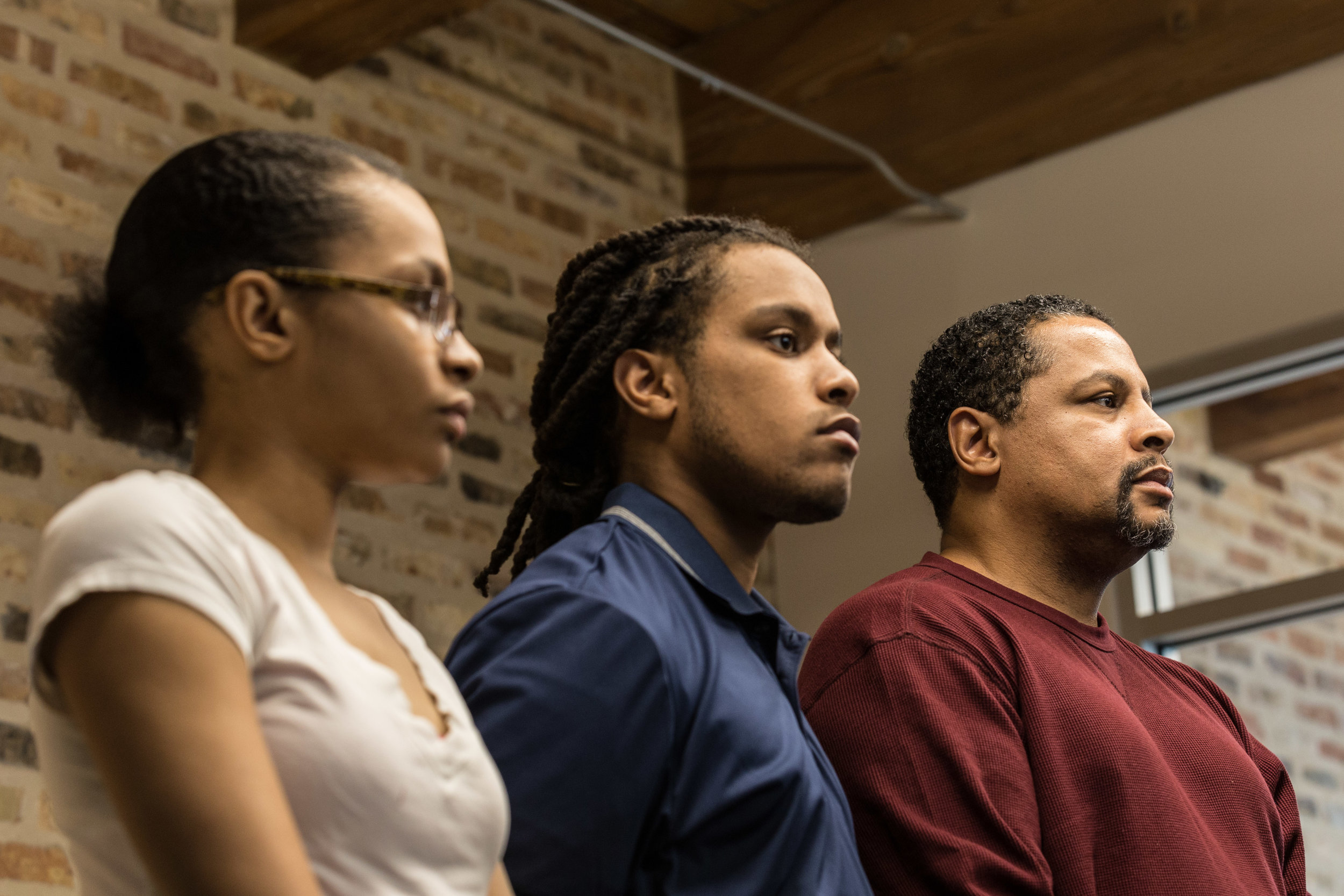 Nevest Coleman, right, and his children, Chanequa and Nicholas, attended the press conference Feb. 8, 2018 where it was announced Coleman and his representation would be suing for wrongful imprisonment. | Erin Brown/Sun-Times