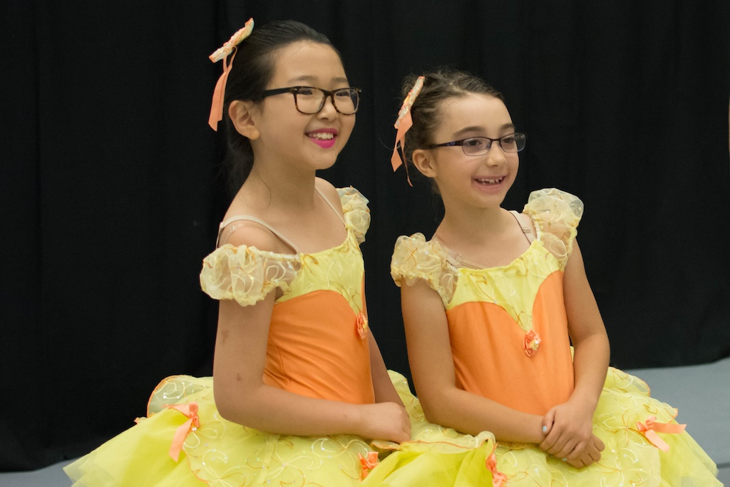 Dancers backstage in costume at Karin Hobby Dance Academy's 2016 Recital.