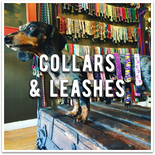 An endless selection of dog collars and leashes at Dogville in Marin