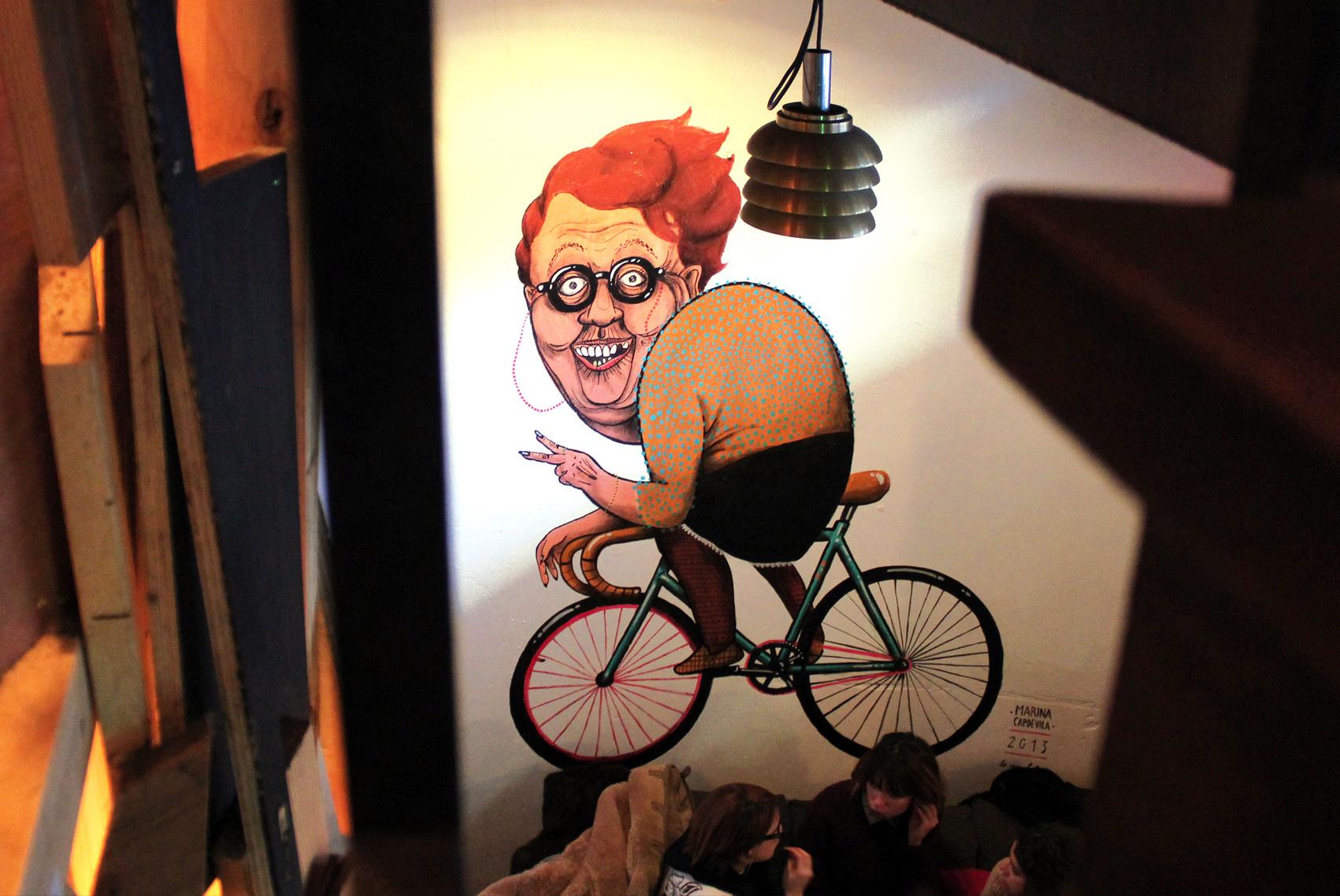 Mural painted at Basis Bar, Amsterdam, Netherlands 2014