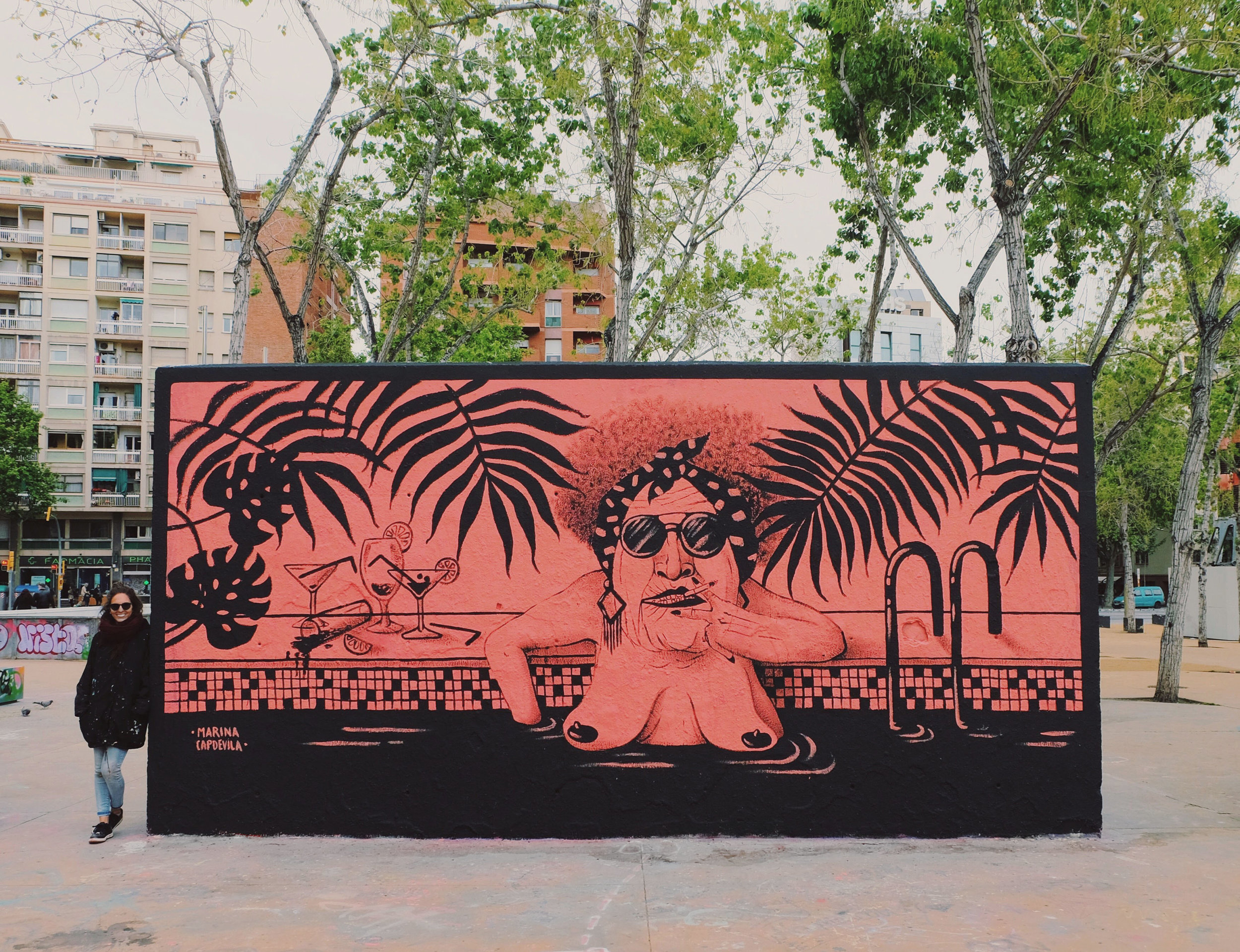 Mural painted at 3 Xemeneies Park, Barcelona 2017
