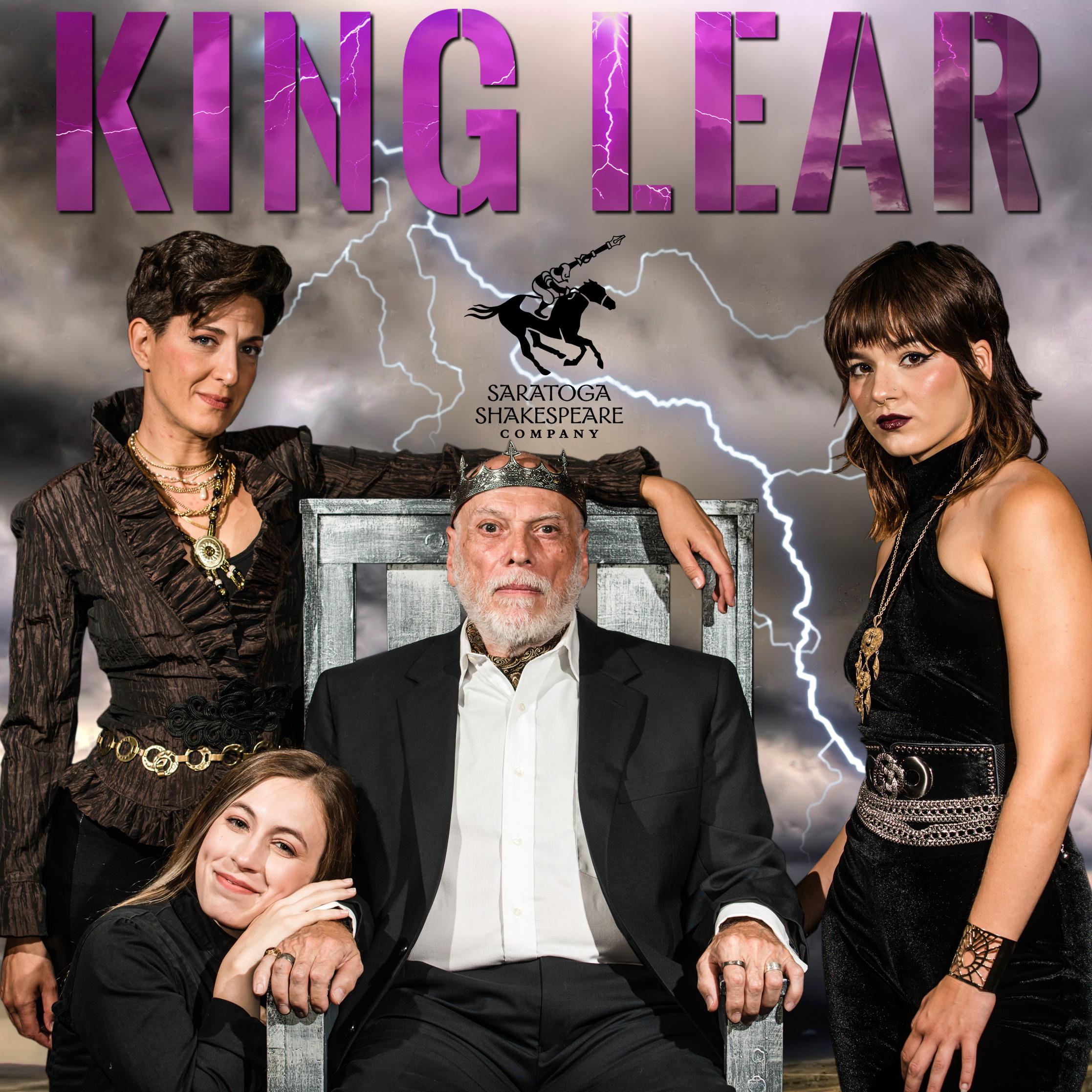 (SEATED) Lary Opitz (King Lear) (TOP L->R) Leah Walton (Goneril) and Emily Raine Blythe (Regan) (BOTTOM) Clara Hevia  Photo; Eric Jenks