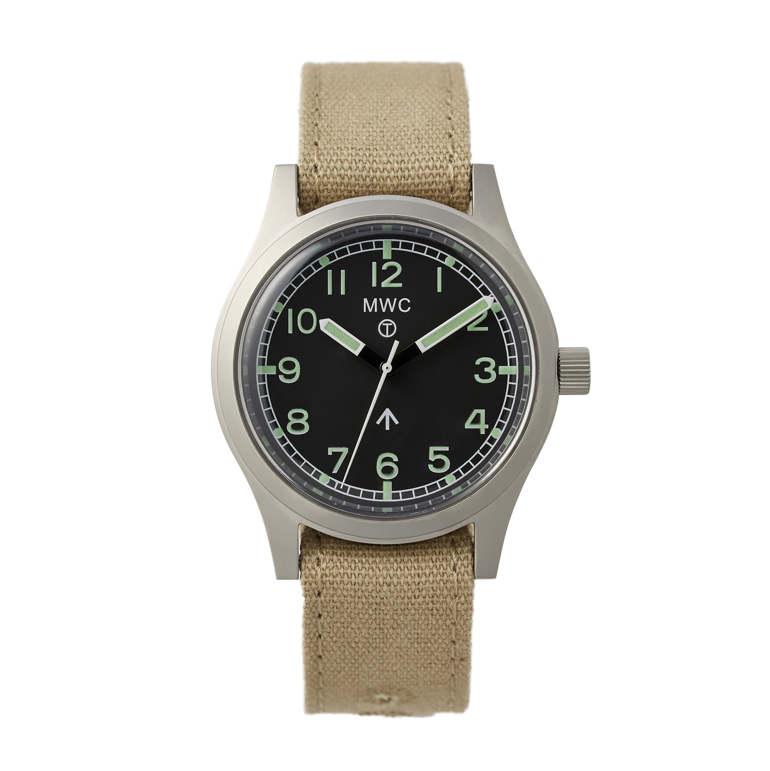 """MWC British Army General Service Watch - Modeled after the 1940s-60's standard issue British Army watches. For historical accuracy, MWC kept the encircled """"T"""", heavy 316L stainless steel case, and canvas straps that were used during this era. I swapped out the canvas one for a camo NATO strap from Crown & Buckle."""