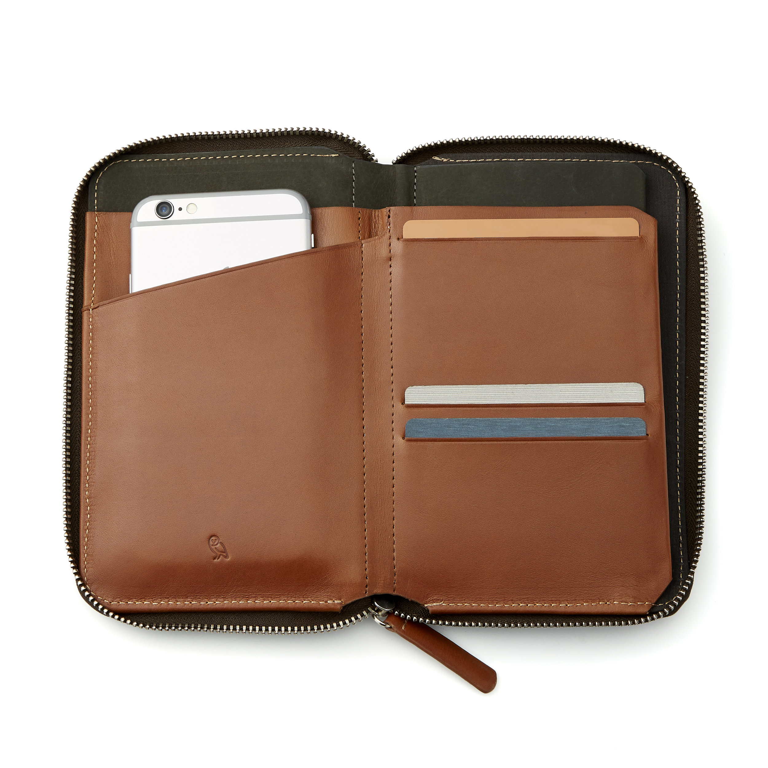 Bellroy Travel Folio - Another great leather organizer from Bellroy. Six to eight cards and has a dedicated sleeve for your passport.