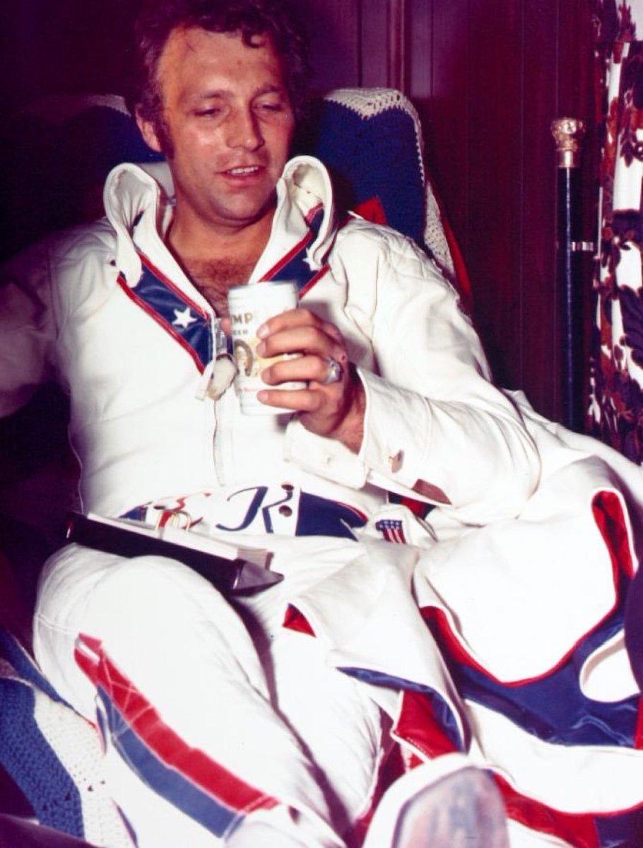 Evel Knievel drinking an Olympia