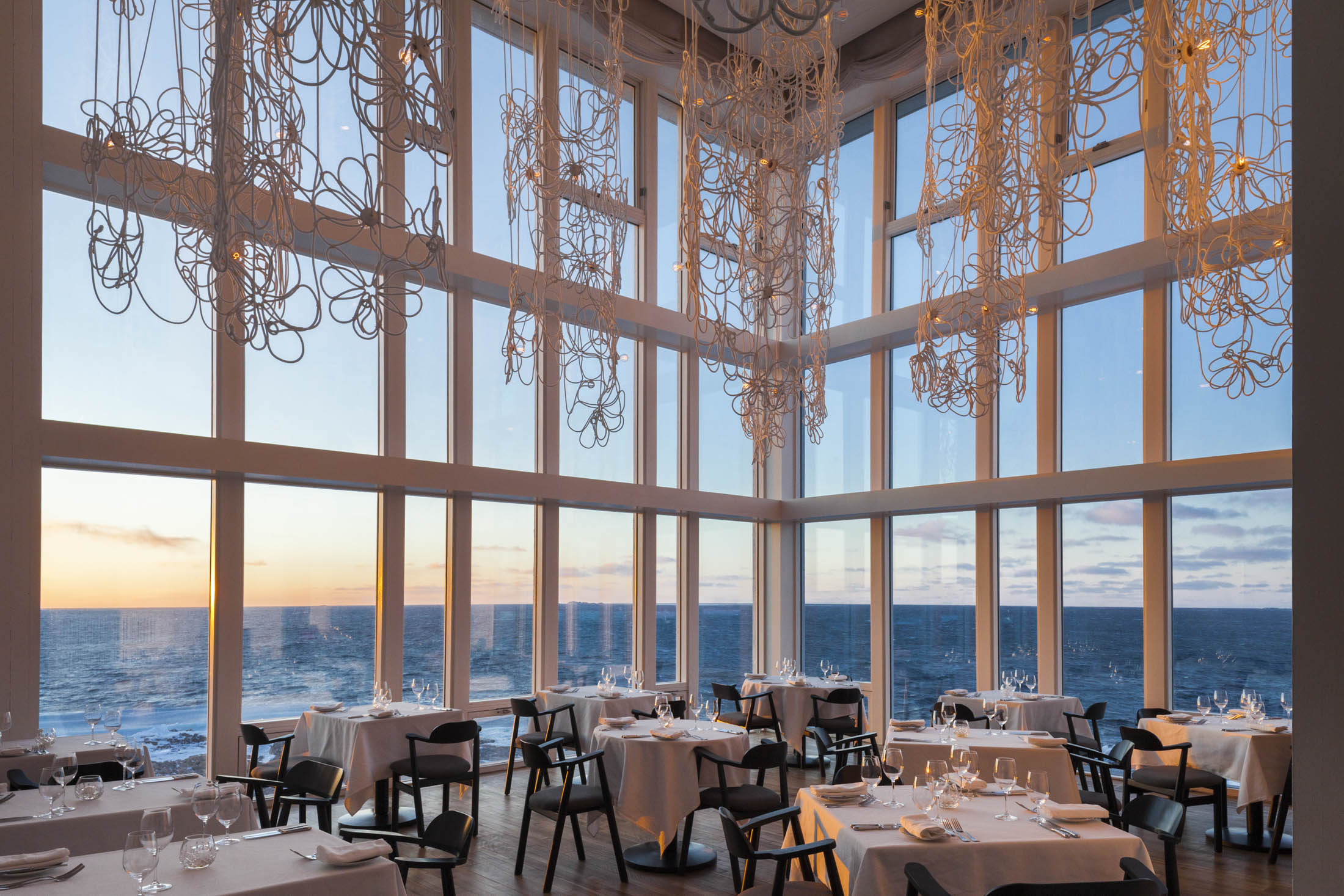 The view from the restaurant at Fogo Island Inn