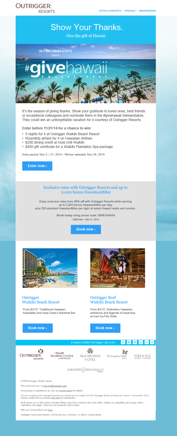 GiveHawaii Sweepstakes Email