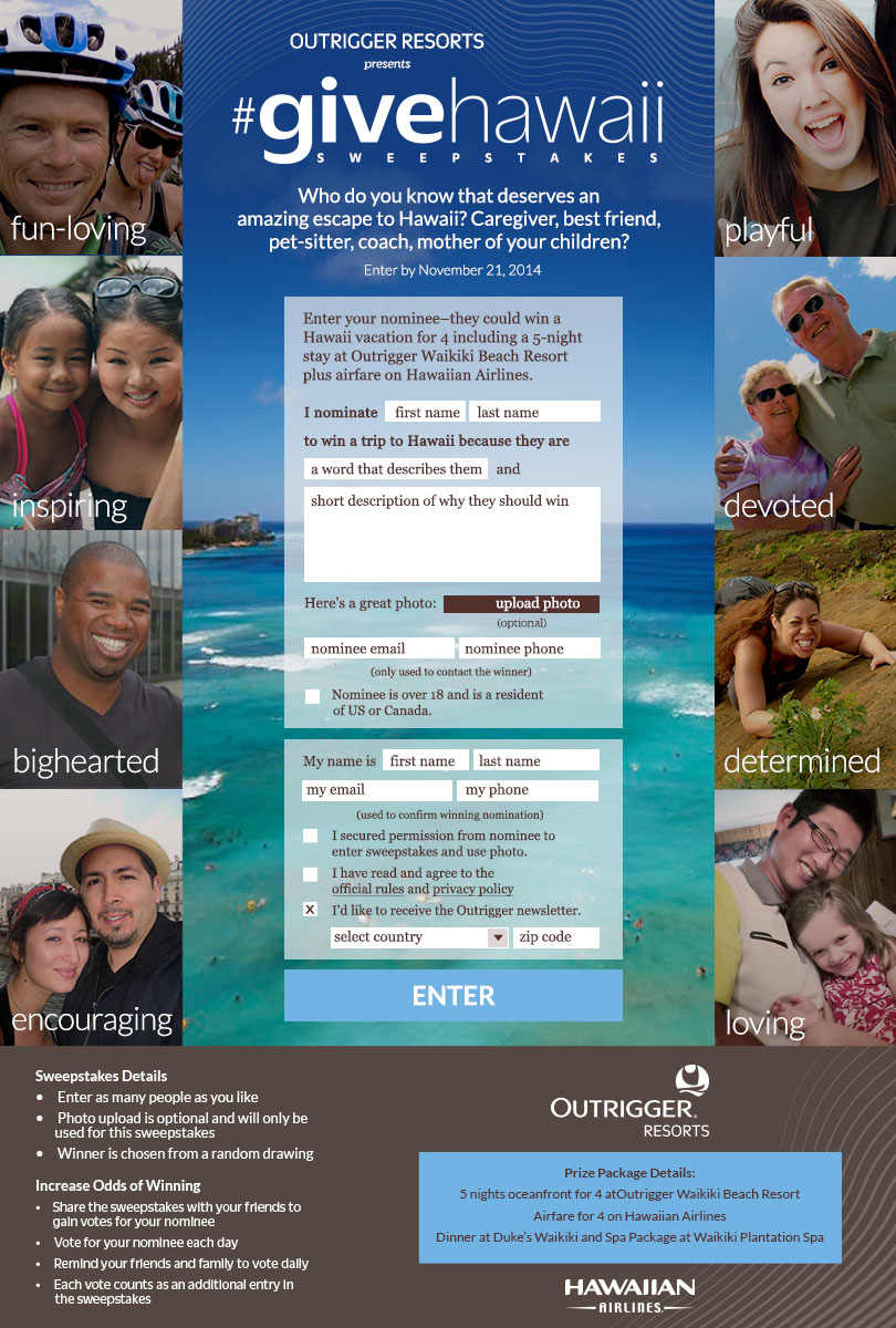 GiveHawaii Sweepstakes Landing Page