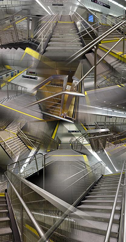 "34th Street Station (Stairs) , 2016, Digital print, 48 x 96"""