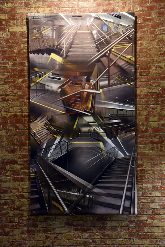 34th Street Station (Stairs) , 2016, Digital print on banner material, installation shot, 49 x 96""