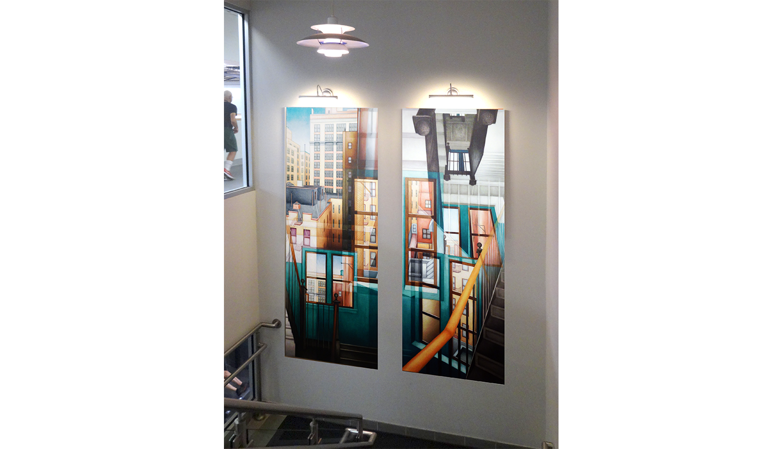"Golden Bannister, 1993 , Digital C print reverse mounted on Plexiglass (installation shot), 30 x 75"" each (2 panels)"