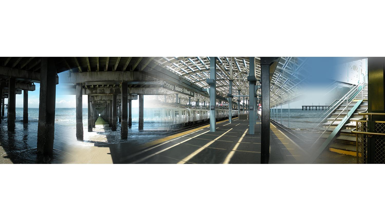 "Pier and Ocean, 2010, Digital C print reverse mounted on Plexiglass, 72 x 20"""