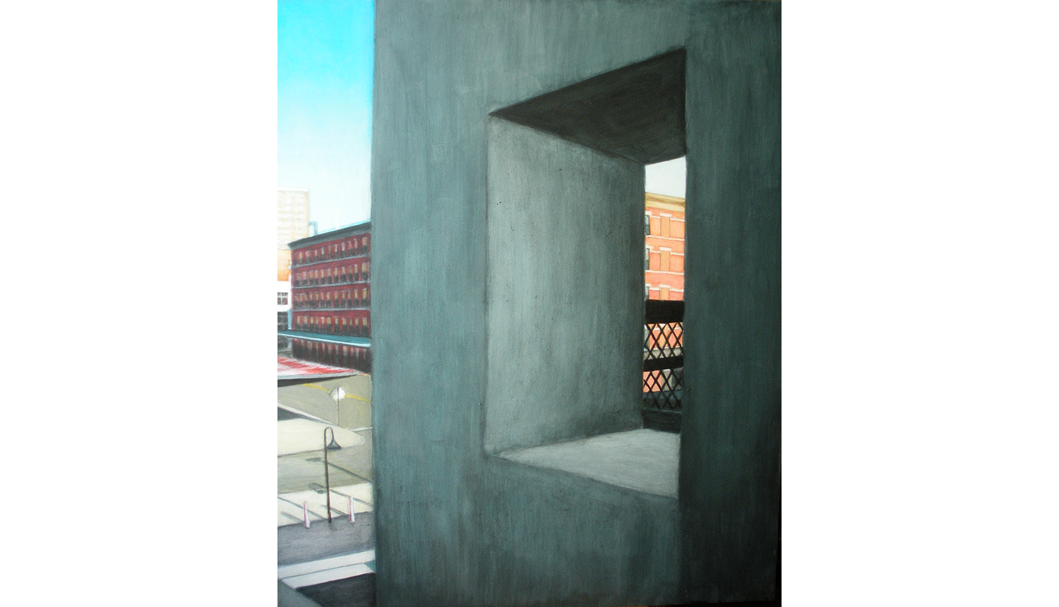 High Line View One,  2010, Acrylic on board, 16 x 20""