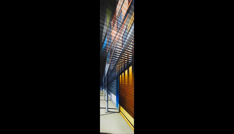 "Fire Escape , 2016, Acrylic on linen, 18 x 72"""