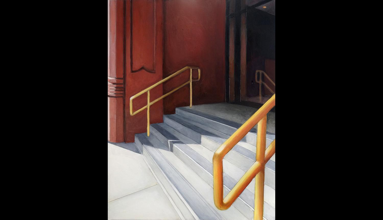 "Golden Railing , 2015, Acrylic on board, 12 x 16"""