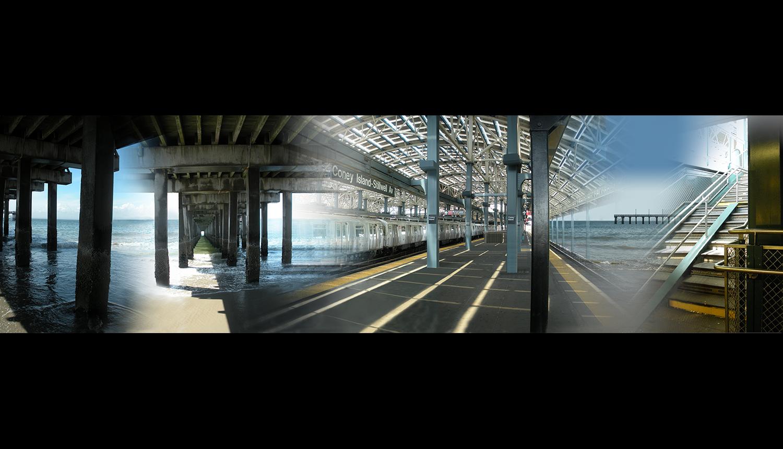 """Pier and Ocean , 2011, Digital print on paper, 78 x 29.5"""""""