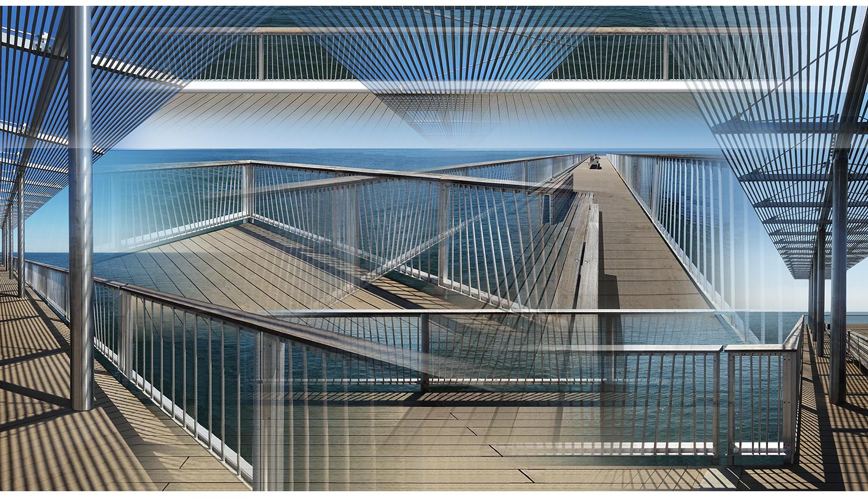 """New Pier , 2014, Digital print on paper, 50 x 28"""""""