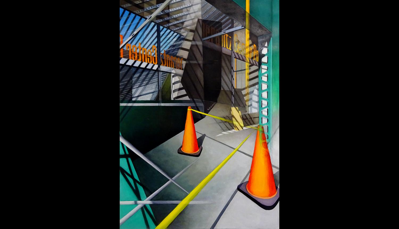"Orange Orange , 2017, Acrylic on paper,24 x 36"""