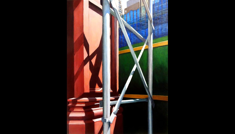 """Fencing , 2017, Acrylic on board, 12 x 16"""""""