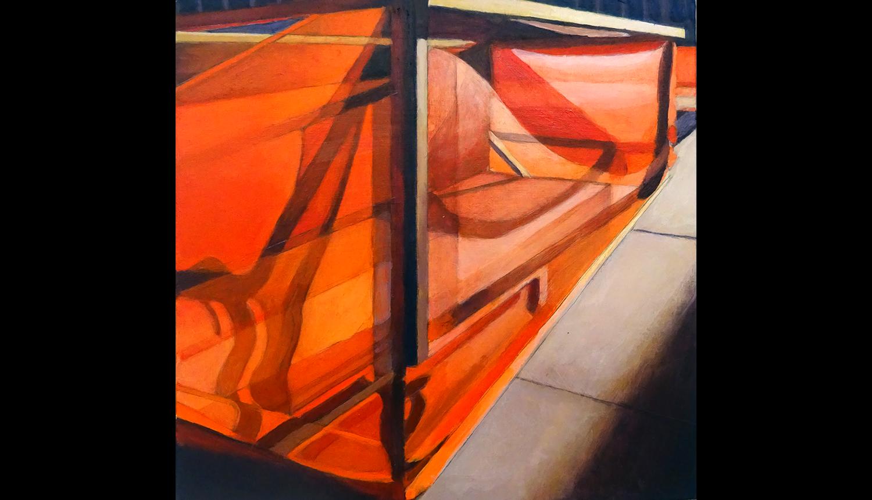 "Orange 1 , 2017, Acrylic on board, 8 x 8"""