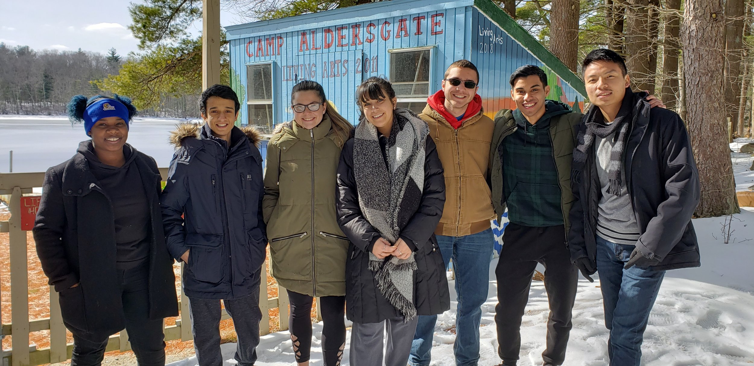 Pictured, left-right: Tynita Clouden, Loay Alshehri, Hannah Farr, Samantha Sobbell, Colin DeVico, Mohammad Ali, and TsheWang Sherpa.