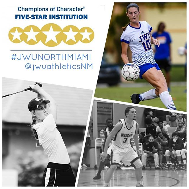 ⭐⭐⭐⭐⭐ FIVE-STAR  For the 2018-19 school year @jwuathleticsNM  was named a 5-star institution (Gold). This marks the program's 12th time on the @NAIA Champions of Character Five-Star Institution list and the first as a gold level recipient. Go Wildcats! #jwunorthmiami